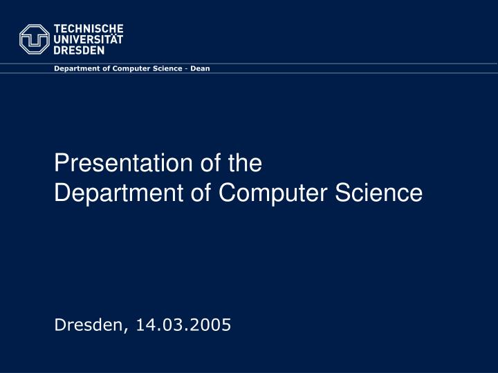presentation of the department of computer science n.
