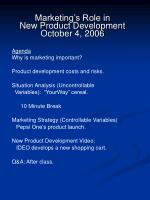marketing s role in new product development october 4 2006