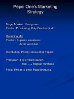 pepsi one s marketing strategy