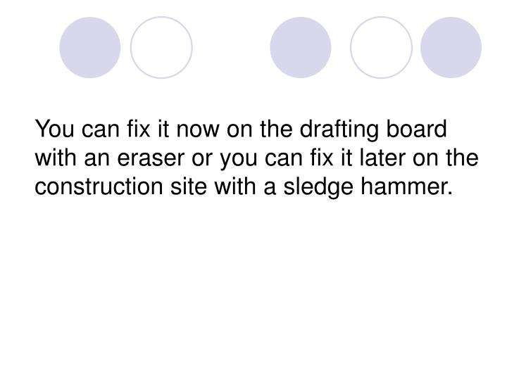 You can fix it now on the drafting board with an eraser or you can fix it later on the construction site with a sledge hammer.