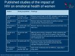 published studies of the impact of hiv on emotional health of women