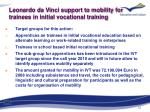 leonardo da vinci support to mobility for trainees in initial vocational training