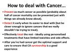 how to deal with cancer