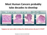 most human cancers probably take decades to develop