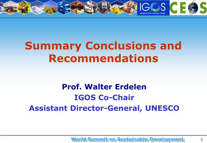 summary conclusions and recommendations n.
