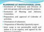 planning at institutional level