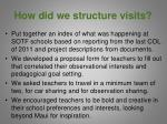 how did we structure visits