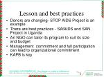 lesson and best practices