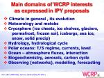 main domains of wcrp interests as expressed in ipy proposals
