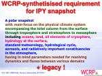 wcrp synthetisised requirement for ipy snapshot