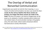 the overlap of verbal and nonverbal communication