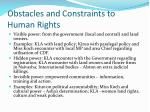 obstacles and constraints to human rights