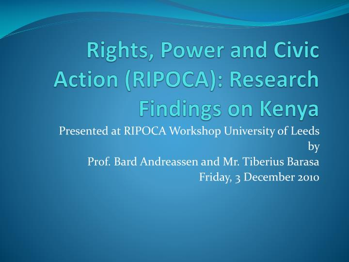 rights power and civic action ripoca research findings on kenya n.