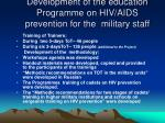 development of the education programme on hiv aids prevention for the military staff