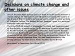 decisions on climate change and other issues