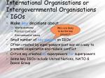 international organisations or intergovernmental organisations igos