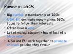 power in igos