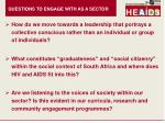 questions to engage with as a sector