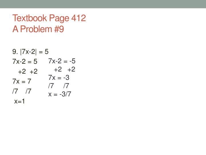 Textbook page 412 a problem 9