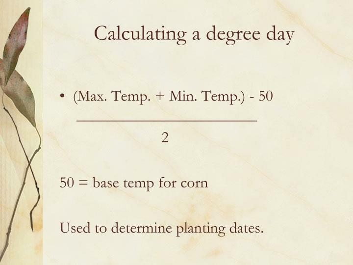 Calculating a degree day