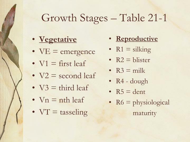 Growth Stages – Table 21-1