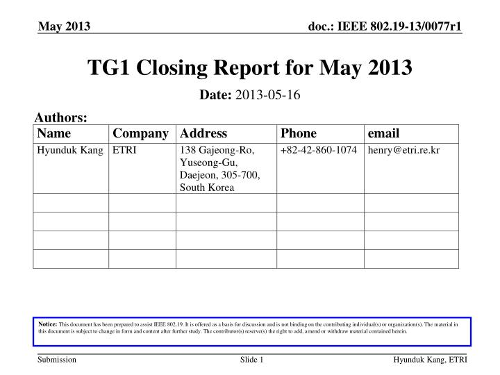 tg1 closing report for may 2013 n.