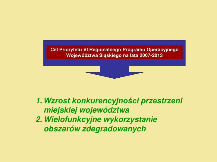 Cel Priorytetu VI Regionalnego Programu Operacyjnego Województwa Śląskiego na lata 2007-2013
