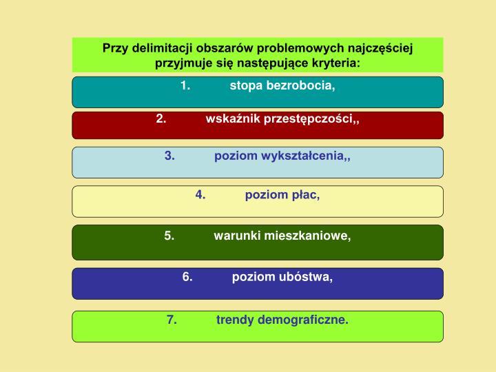 Przy delimitacji obszarów problemowych najczęściej przyjmuje się następujące kryteria: