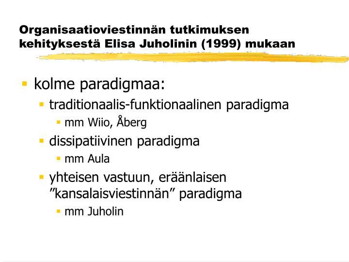 Organisaatioviestinnän tutkimuksen kehityksestä Elisa Juholinin (1999) mukaan