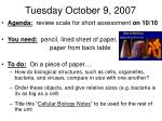 tuesday october 9 2007