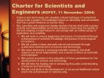 charter for scientists and engineers kofst 11 november 2004
