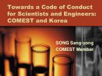 towards a code of conduct for scientists and engineers comest and korea