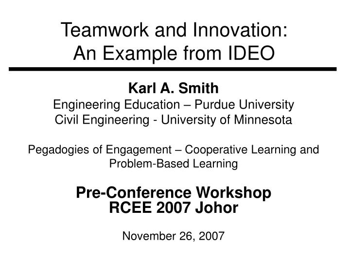 teamwork and innovation an example from ideo n.