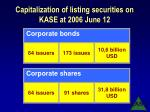 capitalization of listing securities on kase at 2006 june 12