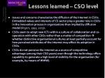 lessons learned cso level