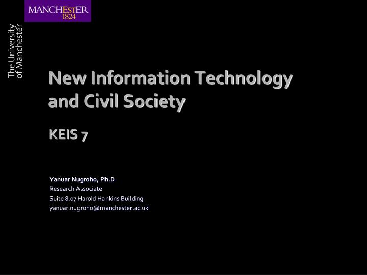 new information technology and civil society n.