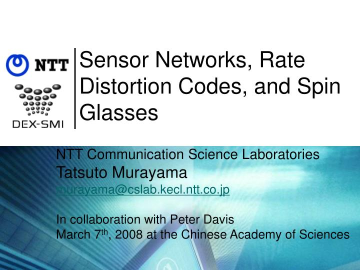 sensor networks rate distortion codes and spin glasses n.