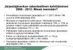 j rjest j verkon rakenteellinen kehitt minen 2006 2012 miss menn n