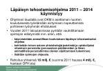l p isyn tehostamisohjelma 2011 2014 k ynnistyy