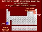 2 circle the most en element and square the least en element 3 highest ie red and lowest ie blue