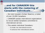and for canadem this starts with the rostering of canadian individuals