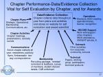 chapter performance data evidence collection vital for self evaluation by chapter and for awards