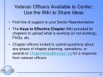 veteran officers available to confer use the wiki to share ideas