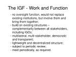 the igf work and function