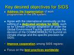 key desired objectives for sids