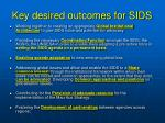 key desired outcomes for sids1