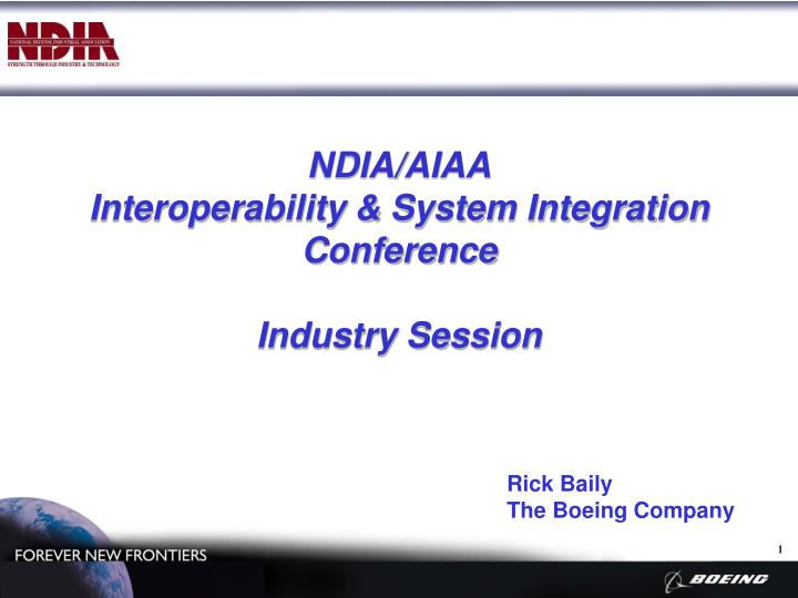 ndia aiaa interoperability system integration conference industry session n.