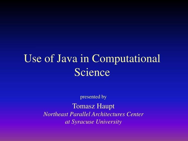 use of java in computational science n.