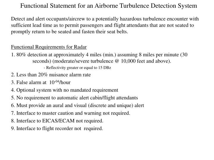 functional statement for an airborne turbulence detection system n.