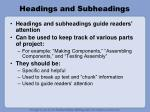 headings and subheadings